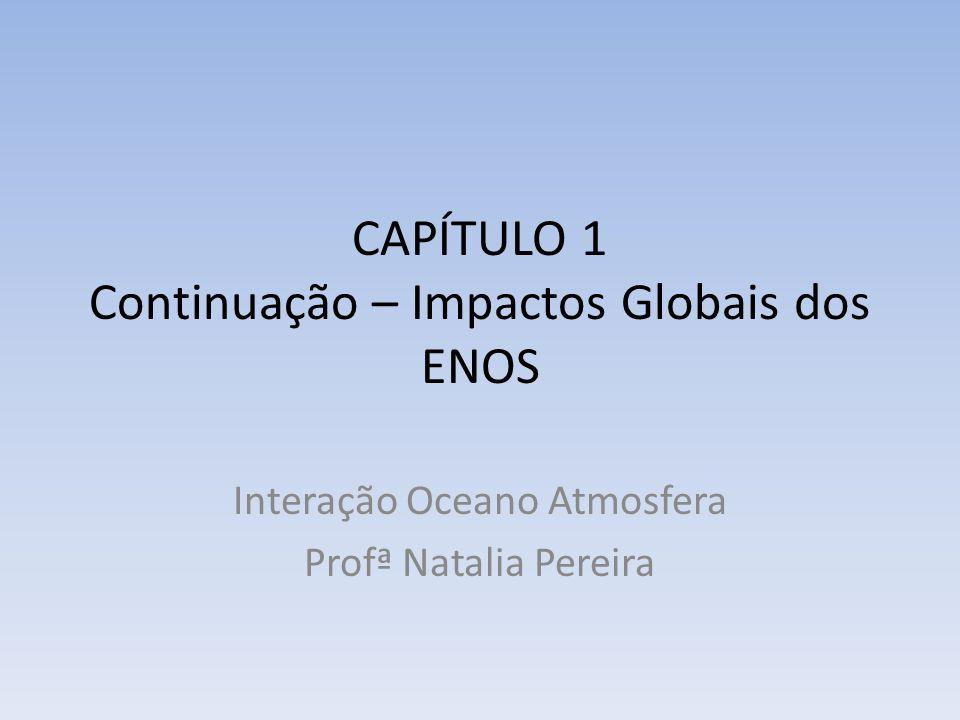 CAPÍTULO 1 Continuação – Impactos Globais dos ENOS Interação Oceano Atmosfera Profª Natalia Pereira