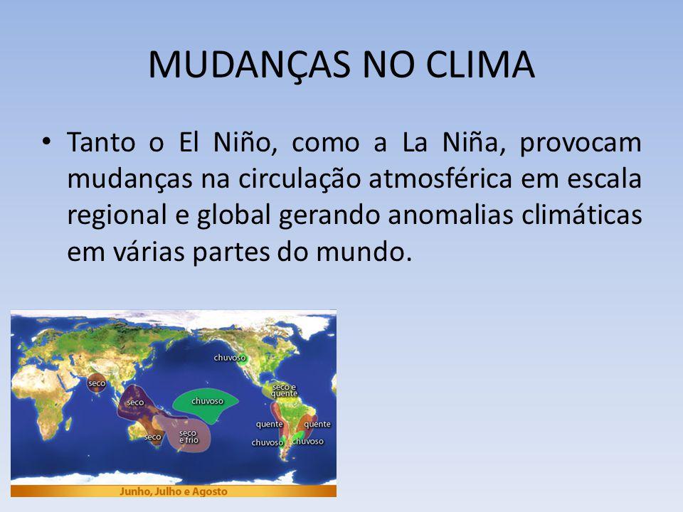 MUDANÇAS NO CLIMA Tanto o El Niño, como a La Niña, provocam mudanças na circulação atmosférica em escala regional e global gerando anomalias climáticas em várias partes do mundo.