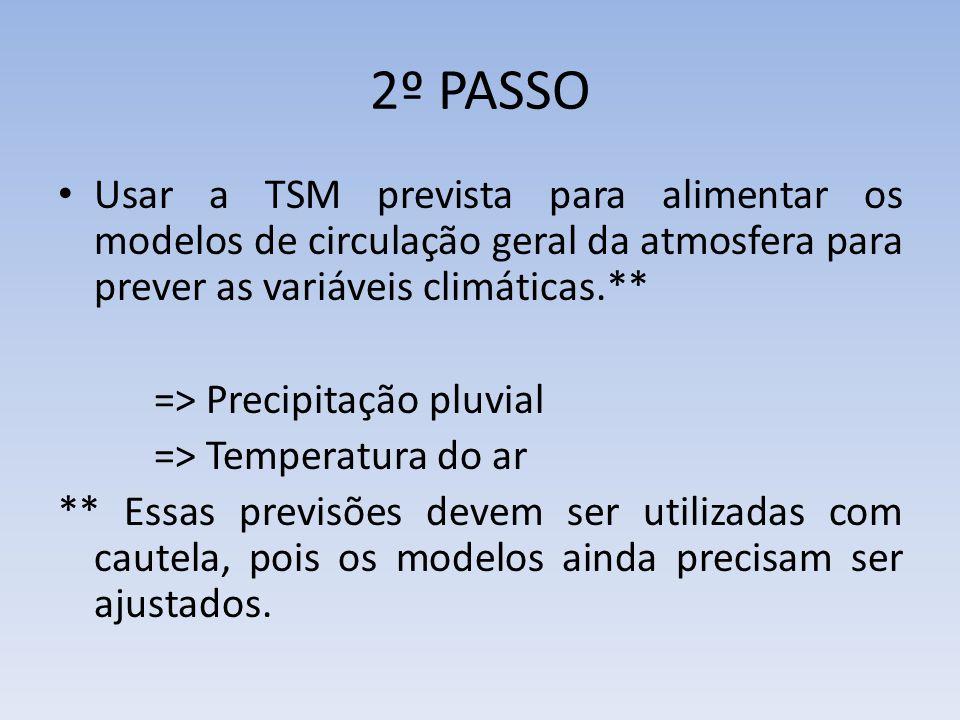 2º PASSO Usar a TSM prevista para alimentar os modelos de circulação geral da atmosfera para prever as variáveis climáticas.** => Precipitação pluvial => Temperatura do ar ** Essas previsões devem ser utilizadas com cautela, pois os modelos ainda precisam ser ajustados.