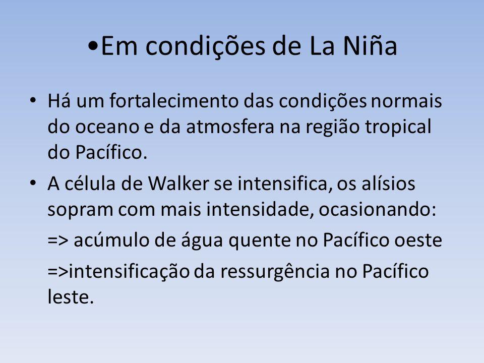 Em condições de La Niña Há um fortalecimento das condições normais do oceano e da atmosfera na região tropical do Pacífico.