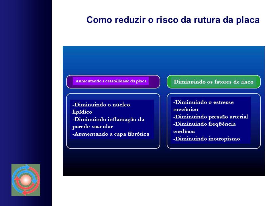 Como reduzir o risco da rutura da placa Aumentando a estabilidade da placa Diminuindo os fatores de risco -Diminuindo o núcleo lipídico -Diminuindo in