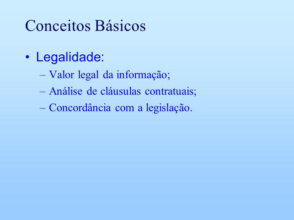 Conceitos Básicos Legalidade: –Valor legal da informação; –Análise de cláusulas contratuais; –Concordância com a legislação.