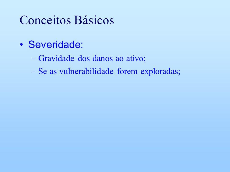 Conceitos Básicos Severidade: –Gravidade dos danos ao ativo; –Se as vulnerabilidade forem exploradas;