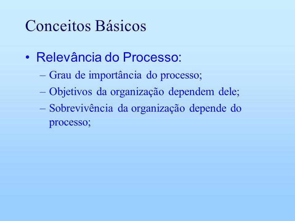 Conceitos Básicos Relevância do Processo: –Grau de importância do processo; –Objetivos da organização dependem dele; –Sobrevivência da organização dep
