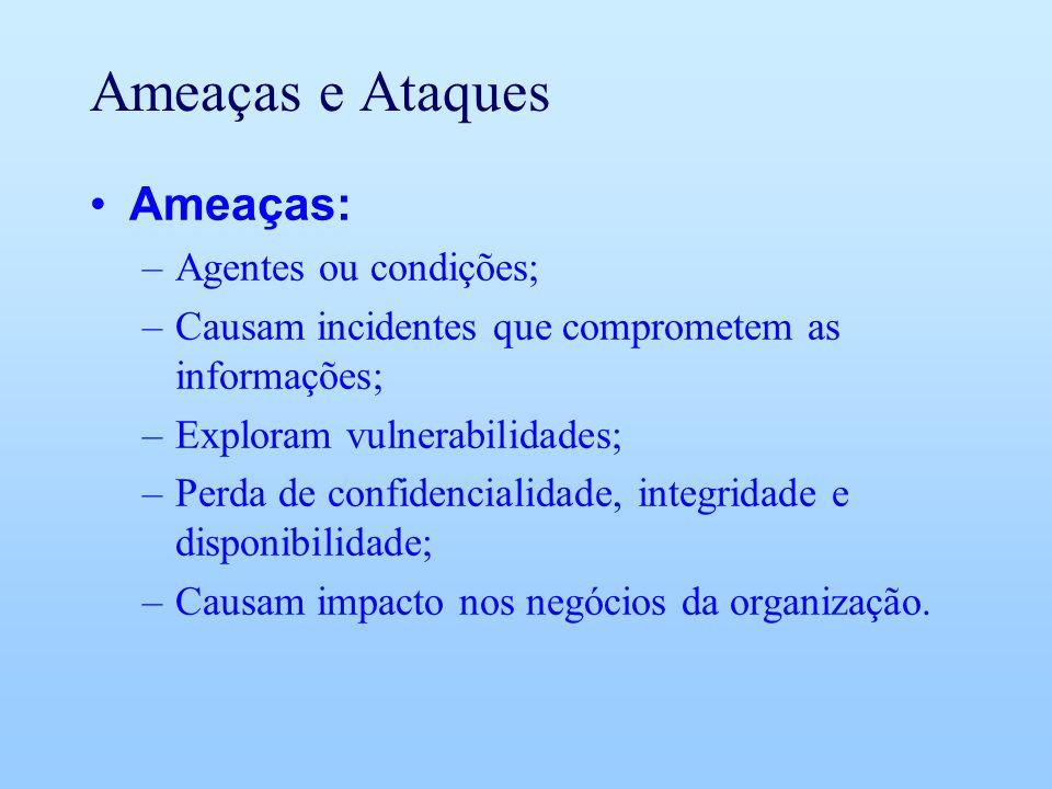 Ameaças e Ataques Ameaças: –Agentes ou condições; –Causam incidentes que comprometem as informações; –Exploram vulnerabilidades; –Perda de confidencia