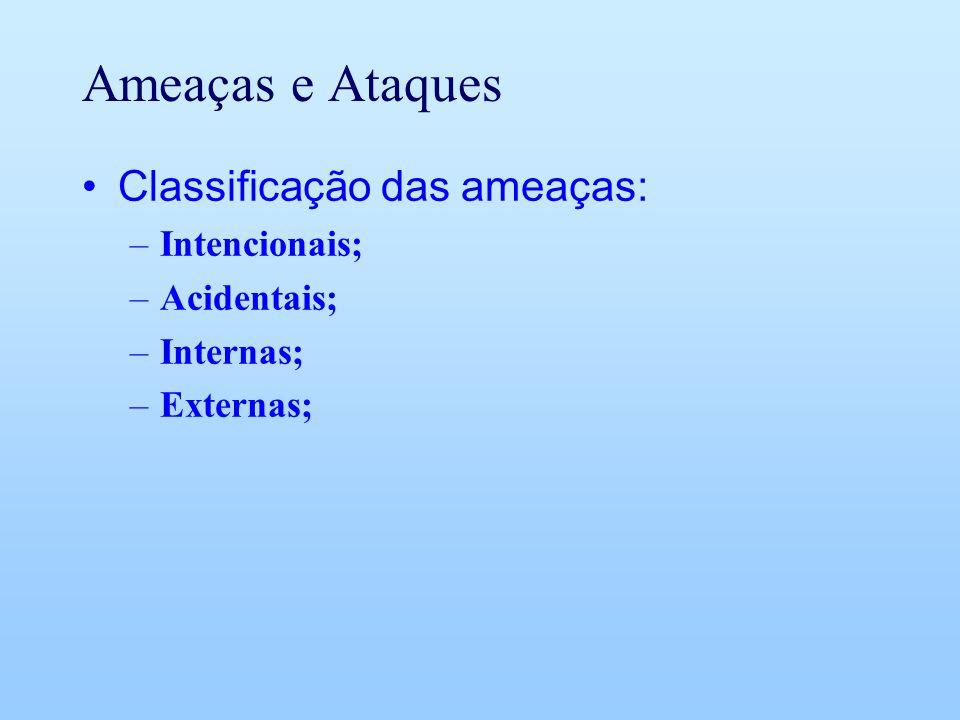 Ameaças e Ataques Classificação das ameaças: –Intencionais; –Acidentais; –Internas; –Externas;