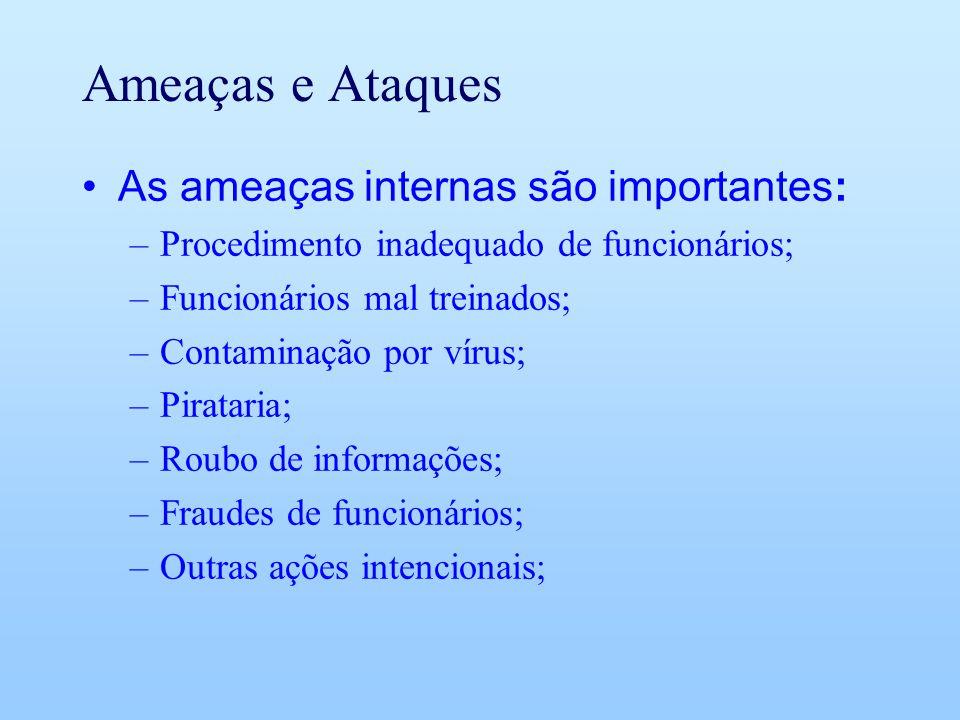 Ameaças e Ataques As ameaças internas são importantes: –Procedimento inadequado de funcionários; –Funcionários mal treinados; –Contaminação por vírus;