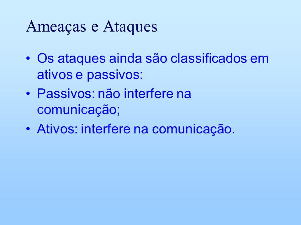 Ameaças e Ataques Os ataques ainda são classificados em ativos e passivos: Passivos: não interfere na comunicação; Ativos: interfere na comunicação.