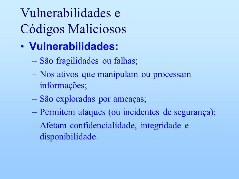 Vulnerabilidades e Códigos Maliciosos Vulnerabilidades: –São fragilidades ou falhas; –Nos ativos que manipulam ou processam informações; –São explorad