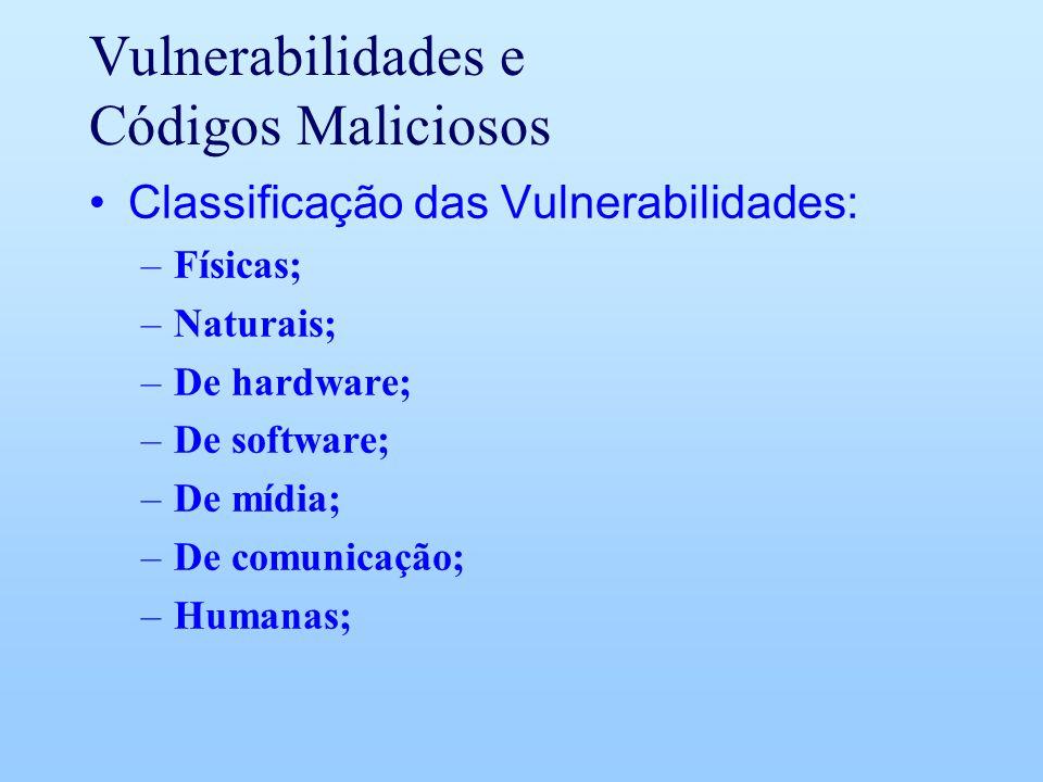 Vulnerabilidades e Códigos Maliciosos Classificação das Vulnerabilidades: –Físicas; –Naturais; –De hardware; –De software; –De mídia; –De comunicação;