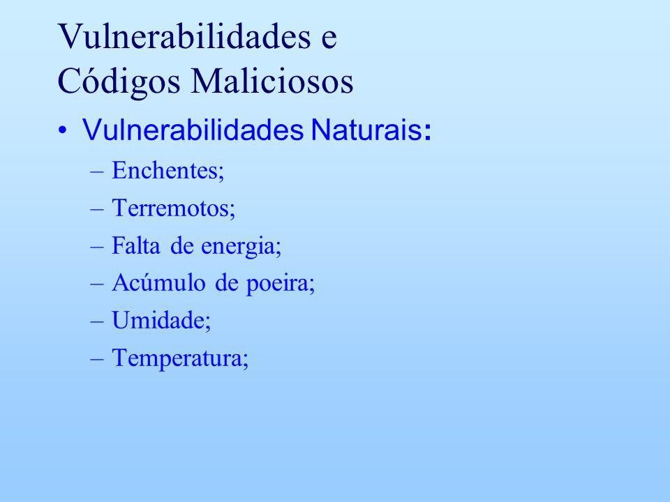 Vulnerabilidades e Códigos Maliciosos Vulnerabilidades Naturais: –Enchentes; –Terremotos; –Falta de energia; –Acúmulo de poeira; –Umidade; –Temperatur