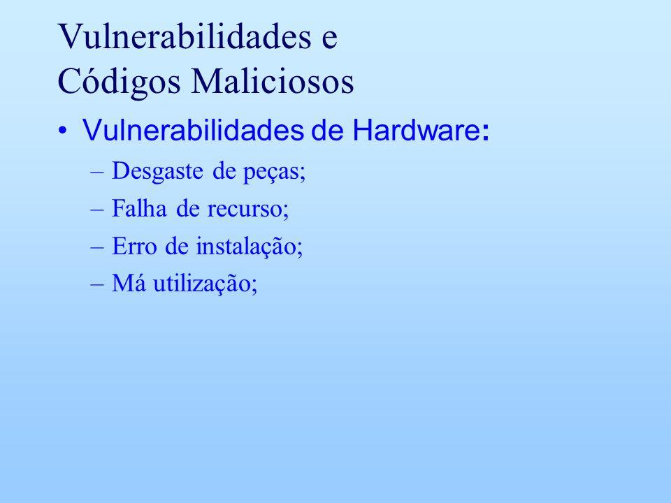Vulnerabilidades e Códigos Maliciosos Vulnerabilidades de Hardware: –Desgaste de peças; –Falha de recurso; –Erro de instalação; –Má utilização;