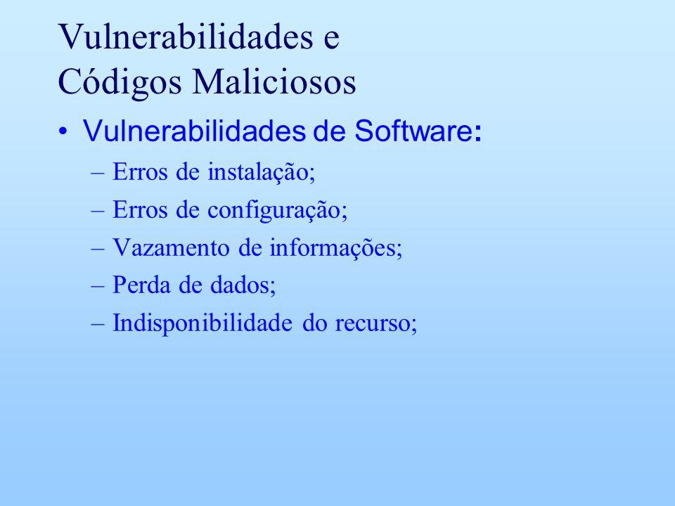 Vulnerabilidades e Códigos Maliciosos Vulnerabilidades de Software: –Erros de instalação; –Erros de configuração; –Vazamento de informações; –Perda de