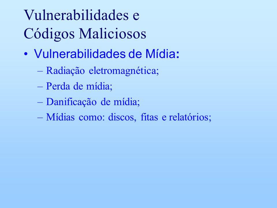 Vulnerabilidades e Códigos Maliciosos Vulnerabilidades de Mídia: –Radiação eletromagnética; –Perda de mídia; –Danificação de mídia; –Mídias como: disc