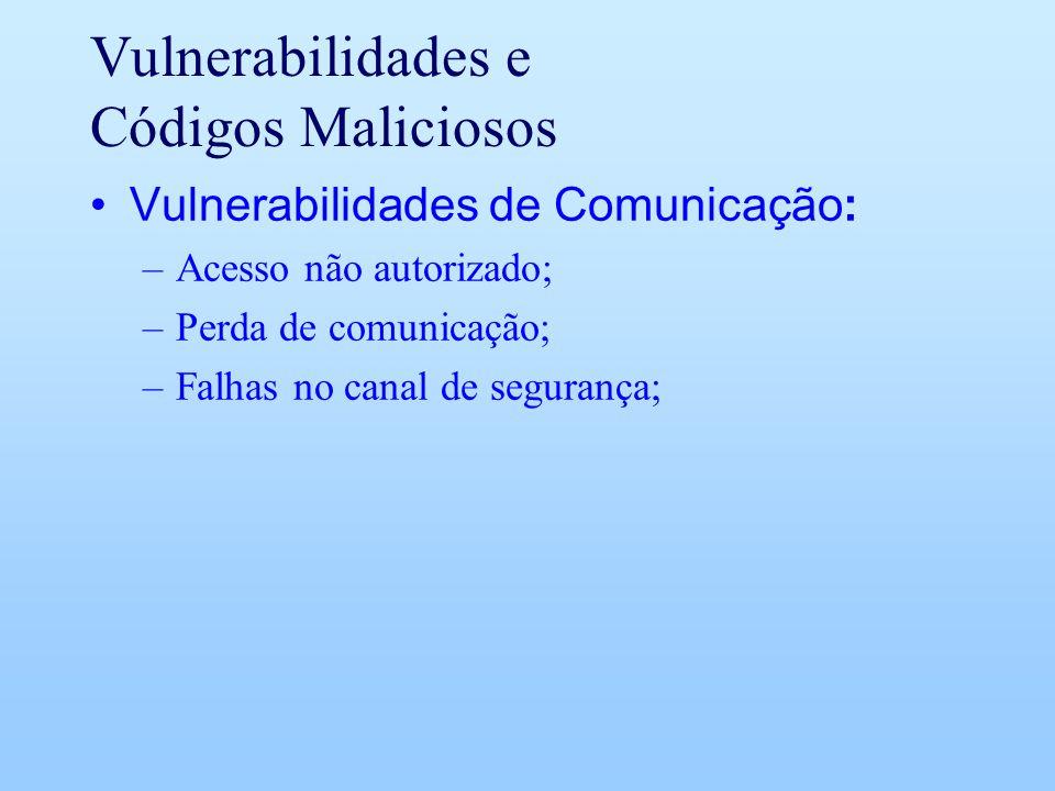 Vulnerabilidades e Códigos Maliciosos Vulnerabilidades de Comunicação: –Acesso não autorizado; –Perda de comunicação; –Falhas no canal de segurança;