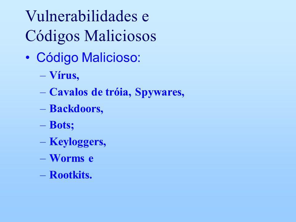Vulnerabilidades e Códigos Maliciosos Código Malicioso: –Vírus, –Cavalos de tróia, Spywares, –Backdoors, –Bots; –Keyloggers, –Worms e –Rootkits.