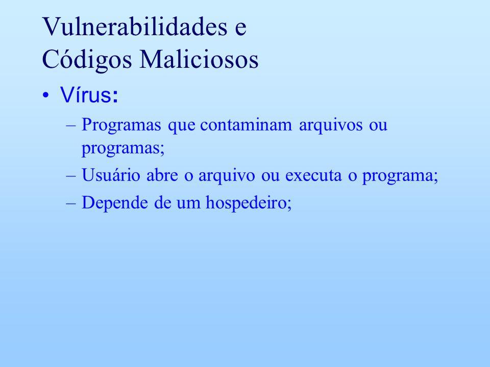 Vulnerabilidades e Códigos Maliciosos Vírus: –Programas que contaminam arquivos ou programas; –Usuário abre o arquivo ou executa o programa; –Depende