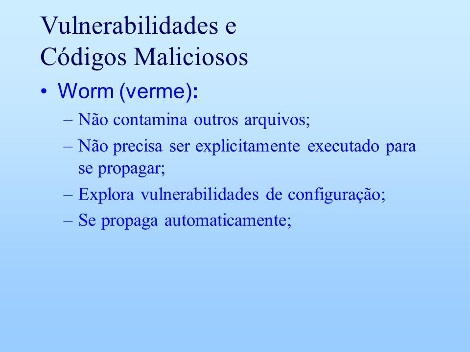 Vulnerabilidades e Códigos Maliciosos Worm (verme): –Não contamina outros arquivos; –Não precisa ser explicitamente executado para se propagar; –Explo