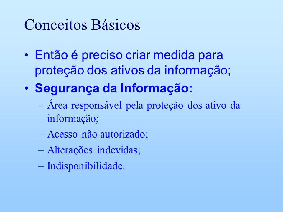 Conceitos Básicos Então é preciso criar medida para proteção dos ativos da informação; Segurança da Informação: –Área responsável pela proteção dos at