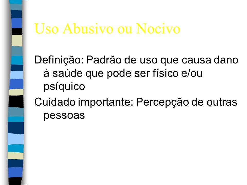 Uso Abusivo ou Nocivo Definição: Padrão de uso que causa dano à saúde que pode ser físico e/ou psíquico Cuidado importante: Percepção de outras pessoa
