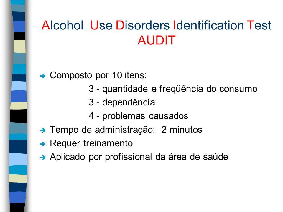 Alcohol Use Disorders Identification Test AUDIT è Composto por 10 itens: 3 - quantidade e freqüência do consumo 3 - dependência 4 - problemas causados