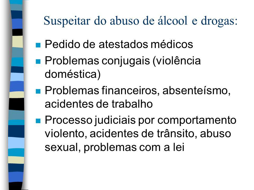 Suspeitar do abuso de álcool e drogas: n Pedido de atestados médicos n Problemas conjugais (violência doméstica) n Problemas financeiros, absenteísmo,