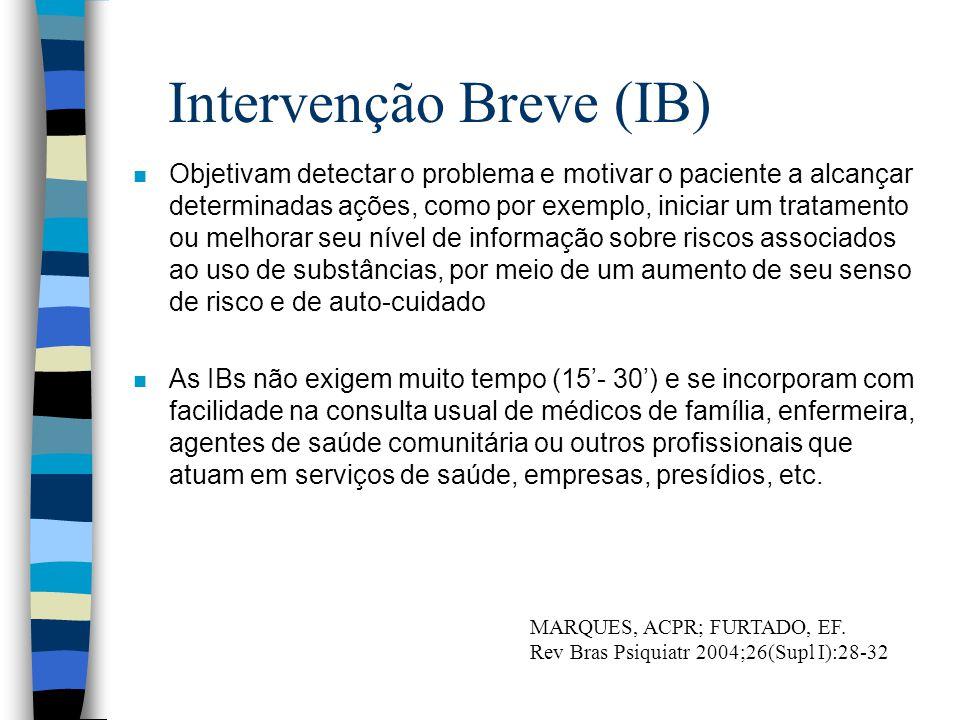 Intervenção Breve (IB) n Objetivam detectar o problema e motivar o paciente a alcançar determinadas ações, como por exemplo, iniciar um tratamento ou