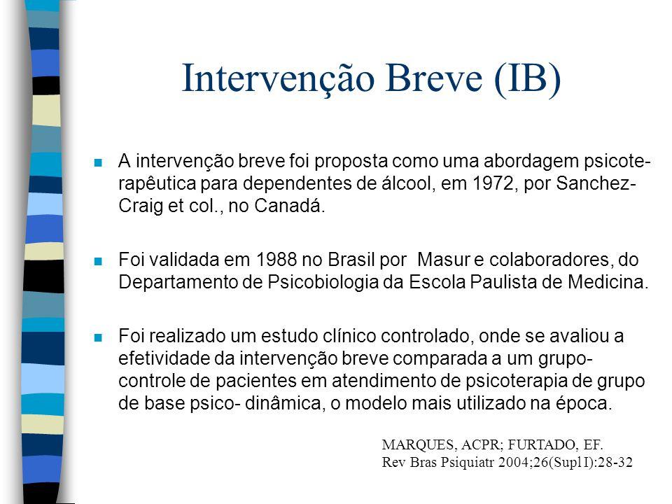 Intervenção Breve (IB) n A intervenção breve foi proposta como uma abordagem psicote- rapêutica para dependentes de álcool, em 1972, por Sanchez- Crai