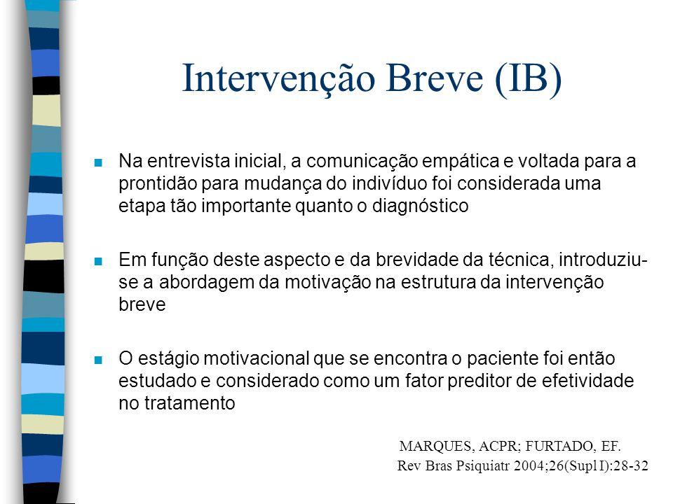 Intervenção Breve (IB) n Na entrevista inicial, a comunicação empática e voltada para a prontidão para mudança do indivíduo foi considerada uma etapa