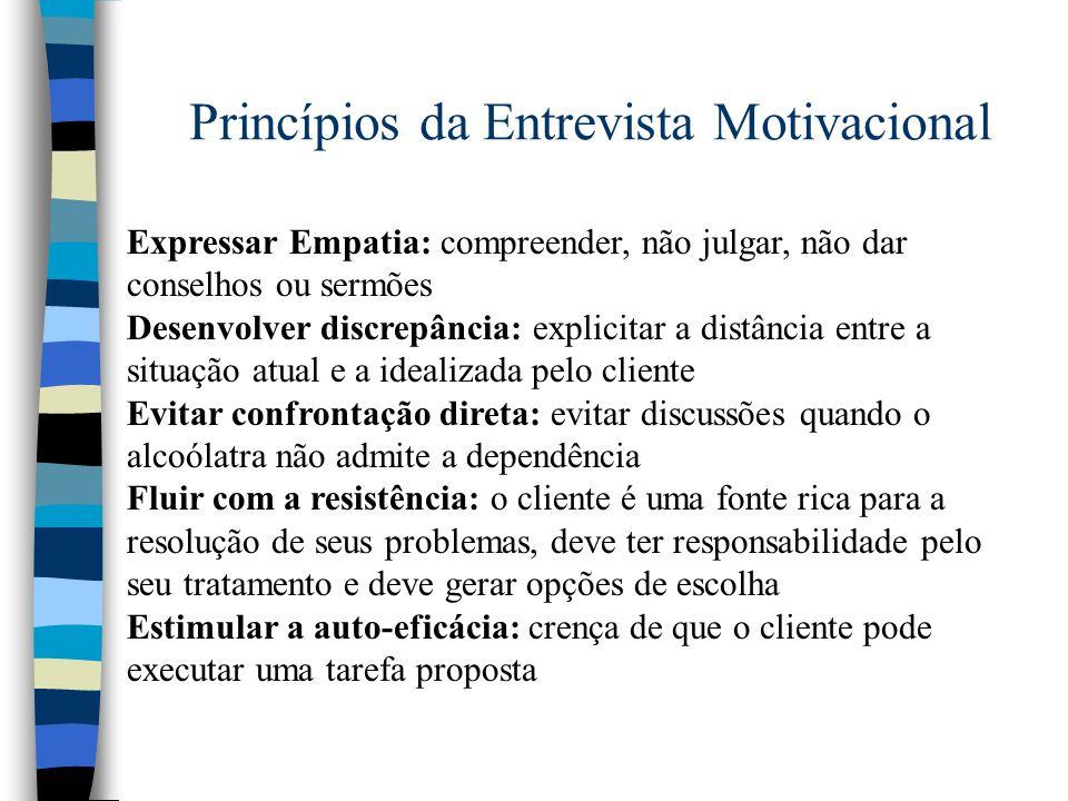 Princípios da Entrevista Motivacional Expressar Empatia: compreender, não julgar, não dar conselhos ou sermões Desenvolver discrepância: explicitar a