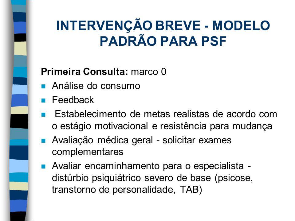 INTERVENÇÃO BREVE - MODELO PADRÃO PARA PSF Primeira Consulta: marco 0 n Análise do consumo n Feedback n Estabelecimento de metas realistas de acordo c