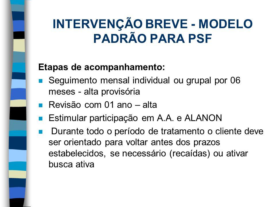 INTERVENÇÃO BREVE - MODELO PADRÃO PARA PSF Etapas de acompanhamento: n Seguimento mensal individual ou grupal por 06 meses - alta provisória n Revisão