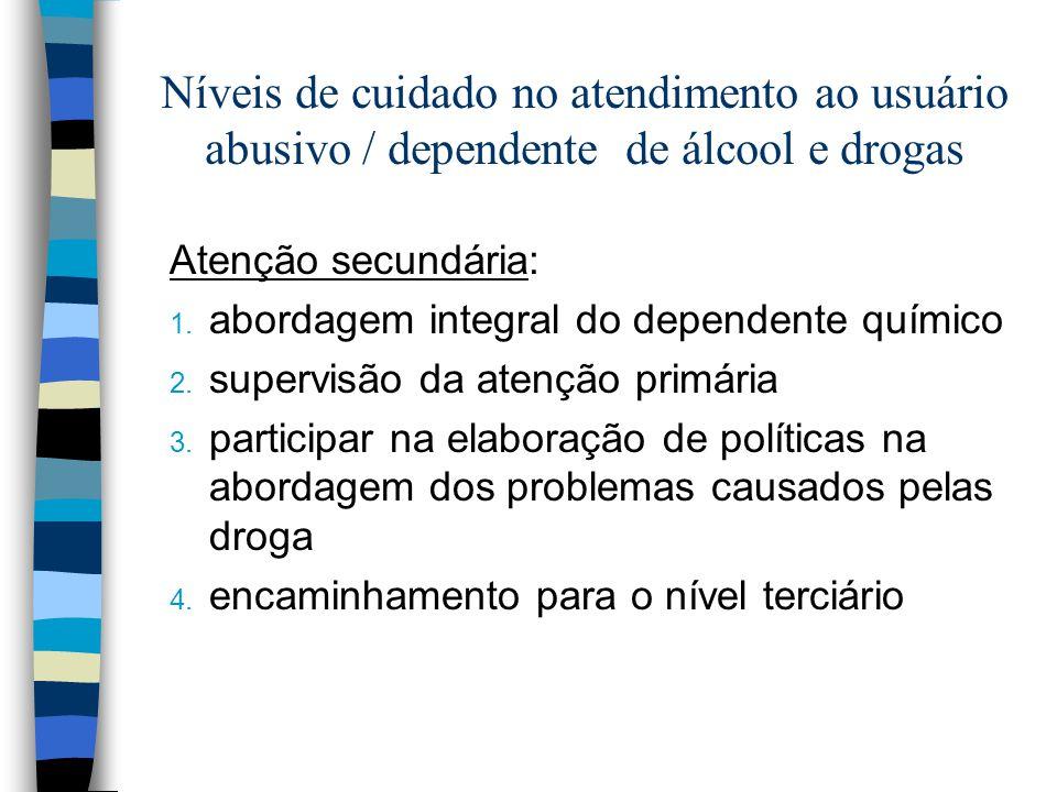 Níveis de cuidado no atendimento ao usuário abusivo / dependente de álcool e drogas Atenção secundária: 1. abordagem integral do dependente químico 2.