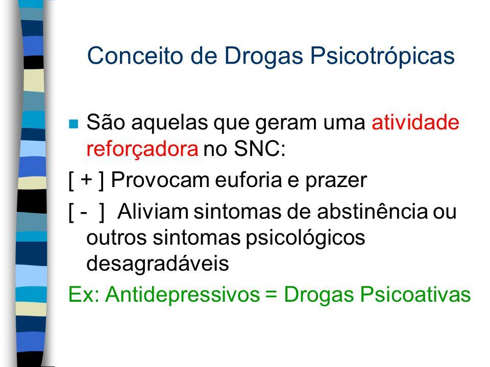 Conceito de Drogas Psicotrópicas n São aquelas que geram uma atividade reforçadora no SNC: [ + ] Provocam euforia e prazer [ - ] Aliviam sintomas de a