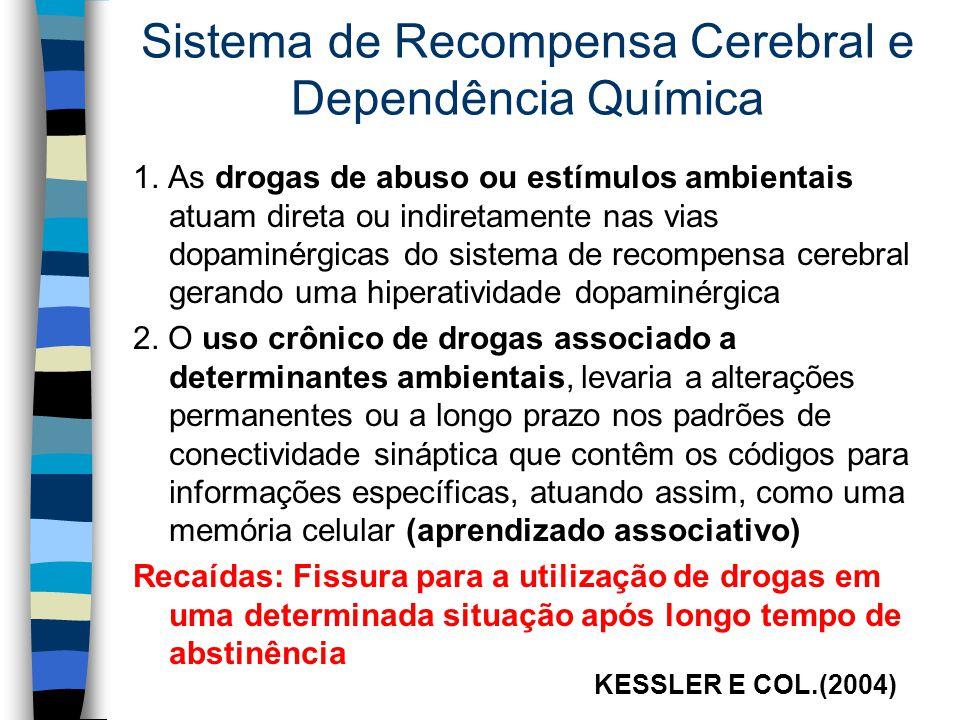 Sistema de Recompensa Cerebral e Dependência Química 1. As drogas de abuso ou estímulos ambientais atuam direta ou indiretamente nas vias dopaminérgic