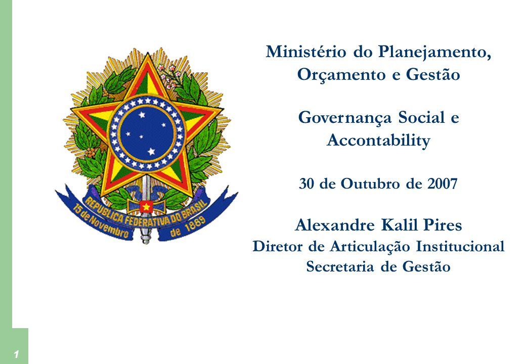 Ministério do Planejamento, Orçamento e Gestão Secretaria de Gestão 1 Ministério do Planejamento, Orçamento e Gestão Governança Social e Accontability