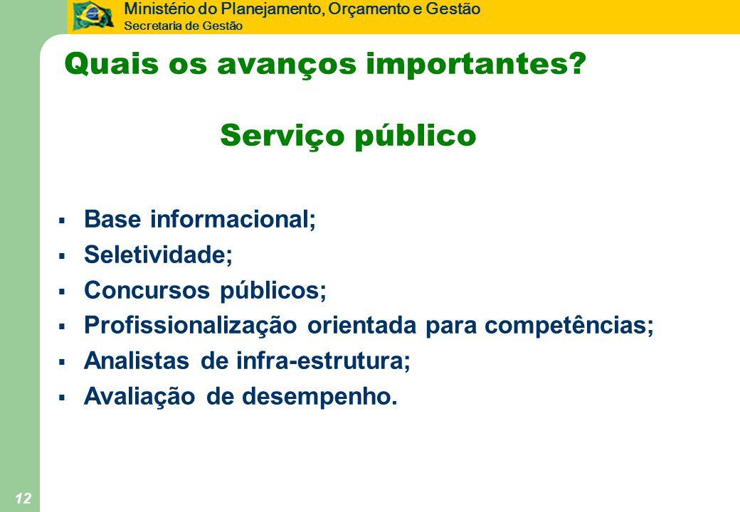 Ministério do Planejamento, Orçamento e Gestão Secretaria de Gestão 12 Quais os avanços importantes? Serviço público  Base informacional;  Seletivid