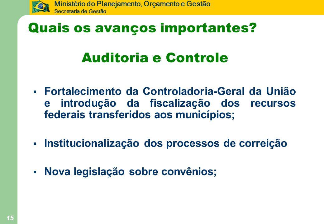 Ministério do Planejamento, Orçamento e Gestão Secretaria de Gestão 15 Quais os avanços importantes? Auditoria e Controle  Fortalecimento da Controla