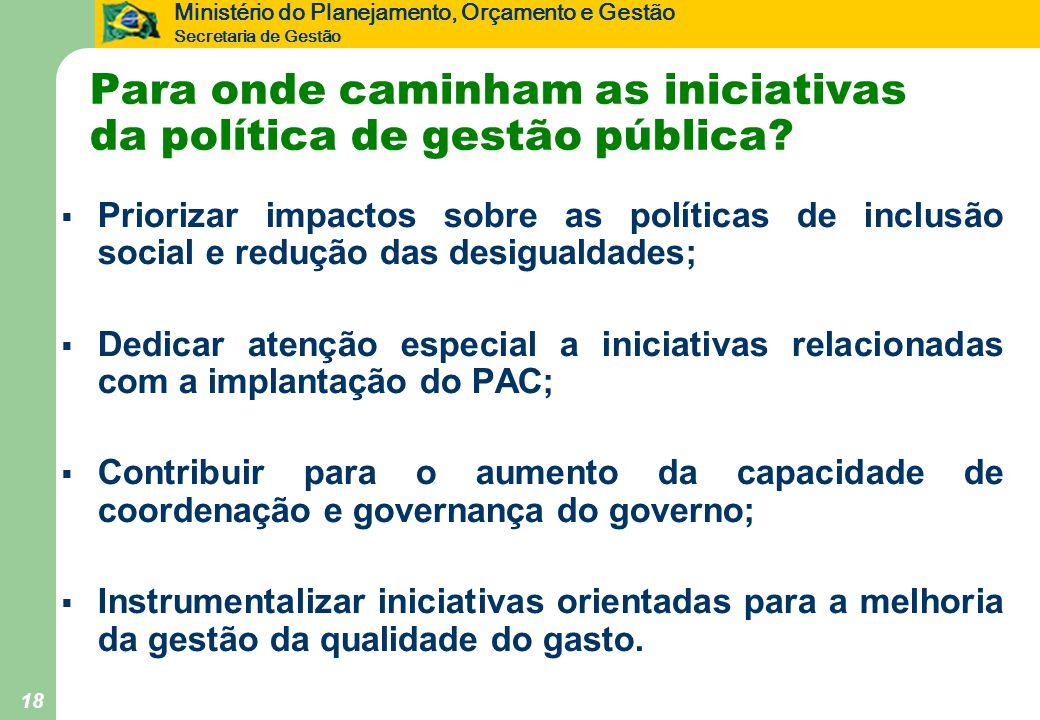 Ministério do Planejamento, Orçamento e Gestão Secretaria de Gestão 18 Para onde caminham as iniciativas da política de gestão pública?  Priorizar im