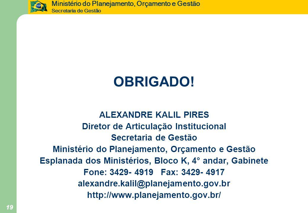 Ministério do Planejamento, Orçamento e Gestão Secretaria de Gestão 19 OBRIGADO! ALEXANDRE KALIL PIRES Diretor de Articulação Institucional Secretaria
