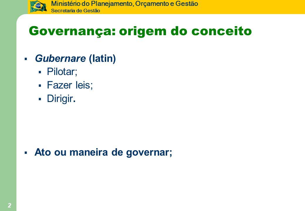 Ministério do Planejamento, Orçamento e Gestão Secretaria de Gestão 2 Governança: origem do conceito  Gubernare (latin)  Pilotar;  Fazer leis;  Di