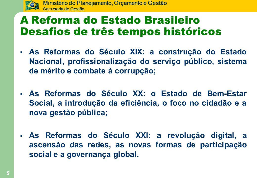 Ministério do Planejamento, Orçamento e Gestão Secretaria de Gestão 5 A Reforma do Estado Brasileiro Desafios de três tempos históricos  As Reformas