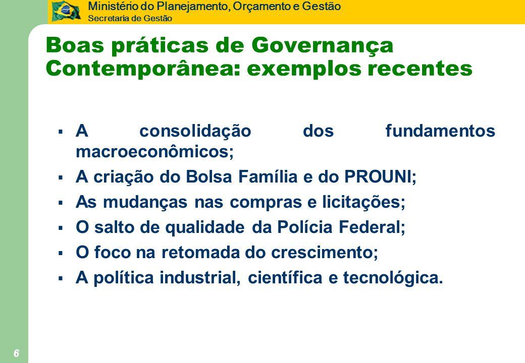 Ministério do Planejamento, Orçamento e Gestão Secretaria de Gestão 6 Boas práticas de Governança Contemporânea: exemplos recentes  A consolidação do