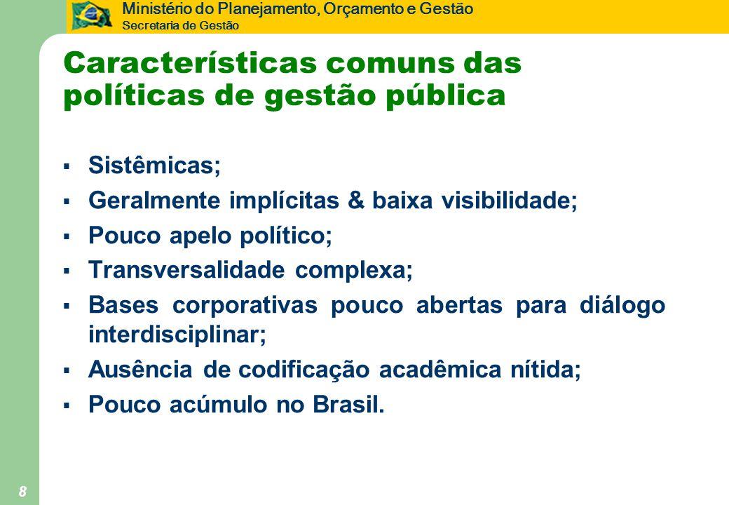 Ministério do Planejamento, Orçamento e Gestão Secretaria de Gestão 8 Características comuns das políticas de gestão pública  Sistêmicas;  Geralment