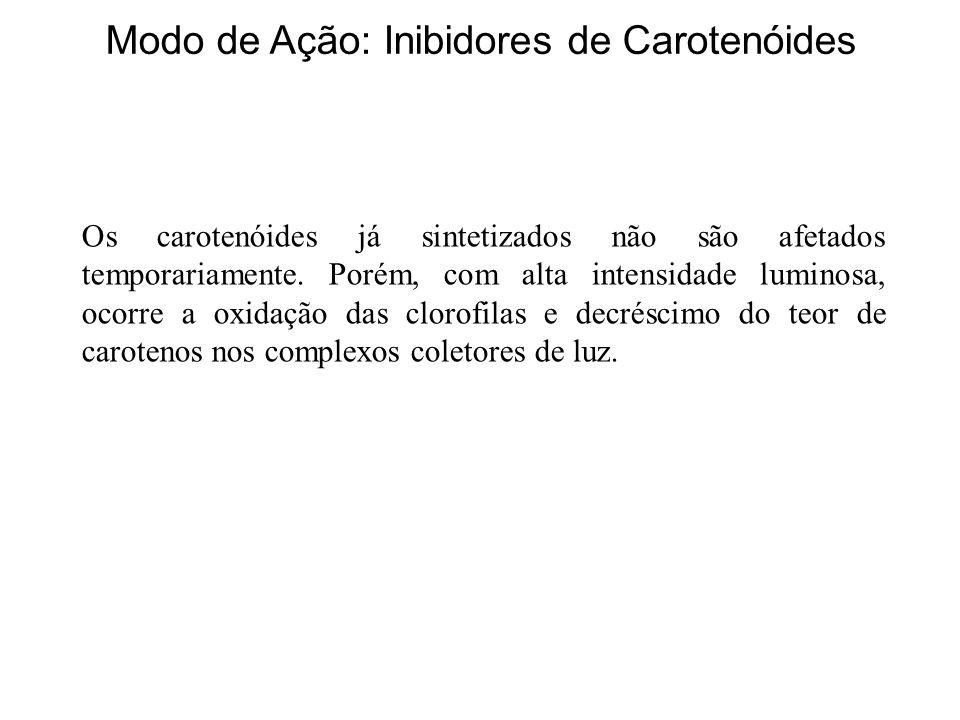 Modo de Ação: Inibidores de Carotenóides Os carotenóides já sintetizados não são afetados temporariamente. Porém, com alta intensidade luminosa, ocorr