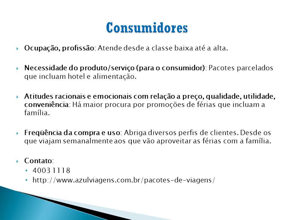  Ocupação, profissão: Atende desde a classe baixa até a alta.  Necessidade do produto/serviço (para o consumidor): Pacotes parcelados que incluam ho