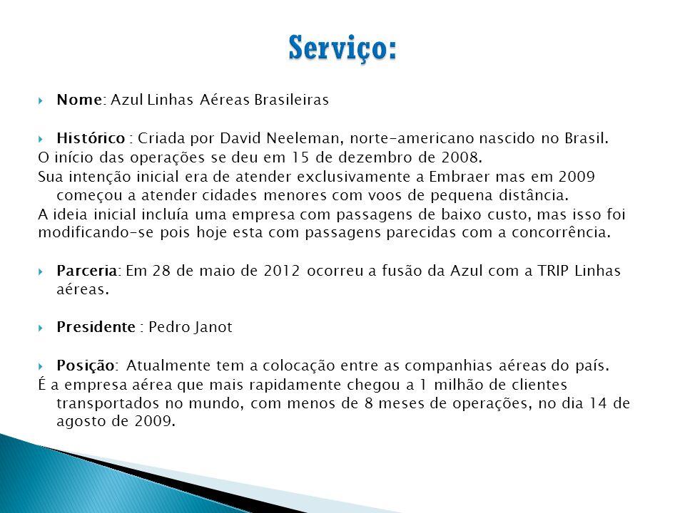  Nome: Azul Linhas Aéreas Brasileiras  Histórico : Criada por David Neeleman, norte-americano nascido no Brasil. O início das operações se deu em 15