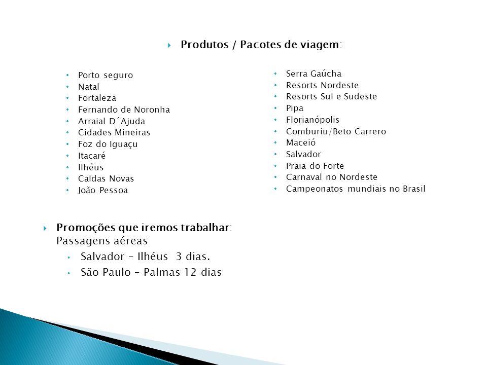 Porto seguro Natal Fortaleza Fernando de Noronha Arraial D´Ajuda Cidades Mineiras Foz do Iguaçu Itacaré Ilhéus Caldas Novas João Pessoa Serra Gaúcha R