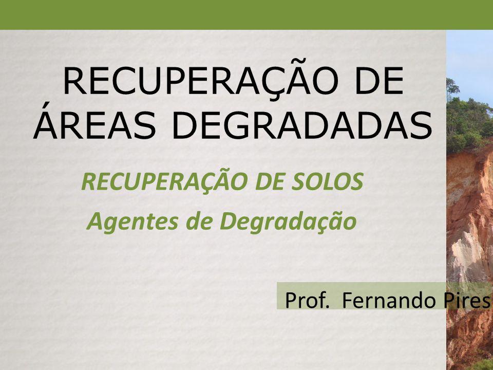 RECUPERAÇÃO DE ÁREAS DEGRADADAS RECUPERAÇÃO DE SOLOS Agentes de Degradação Prof. Fernando Pires