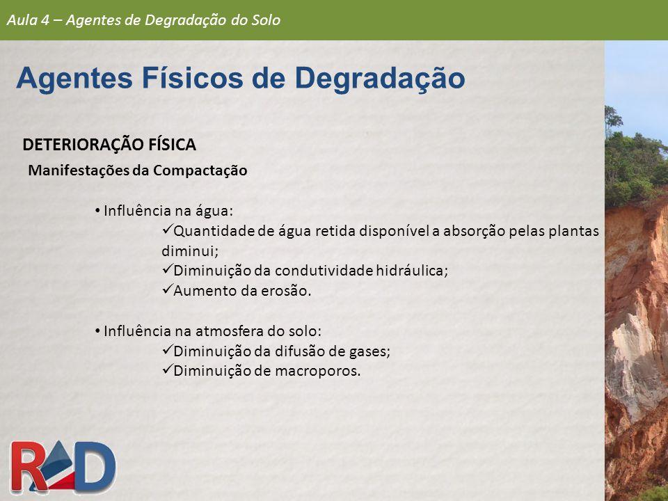 DETERIORAÇÃO FÍSICA Manifestações da Compactação Influência na água: Quantidade de água retida disponível a absorção pelas plantas diminui; Diminuição